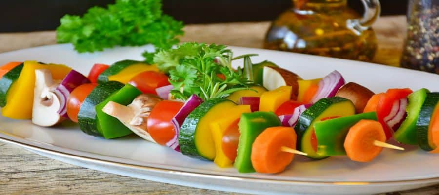 plate of vegetables for grilling showing that grilling is healthy